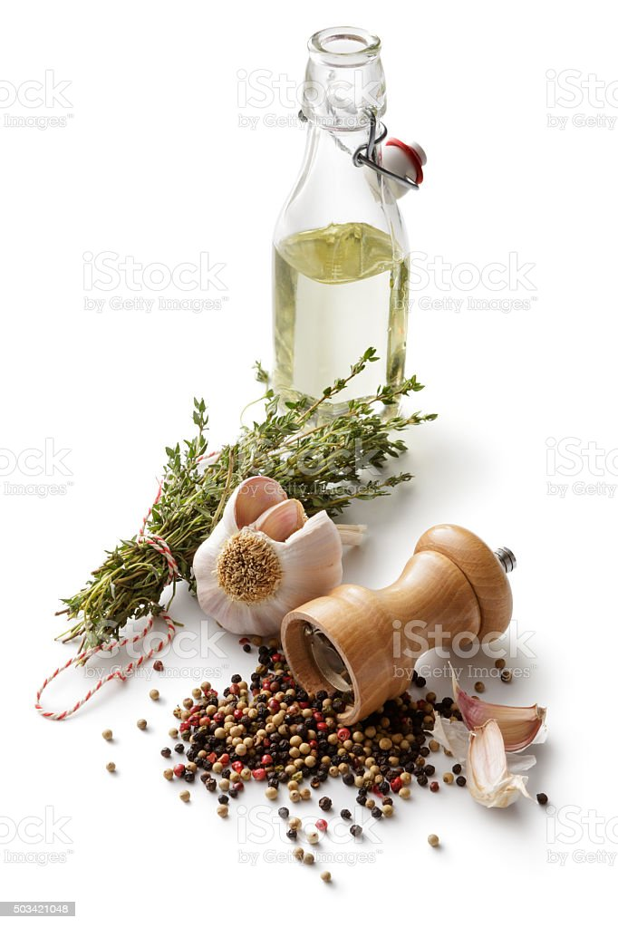 Ingredients: Pepper, Garlic, Thyme and Olive Oil stock photo
