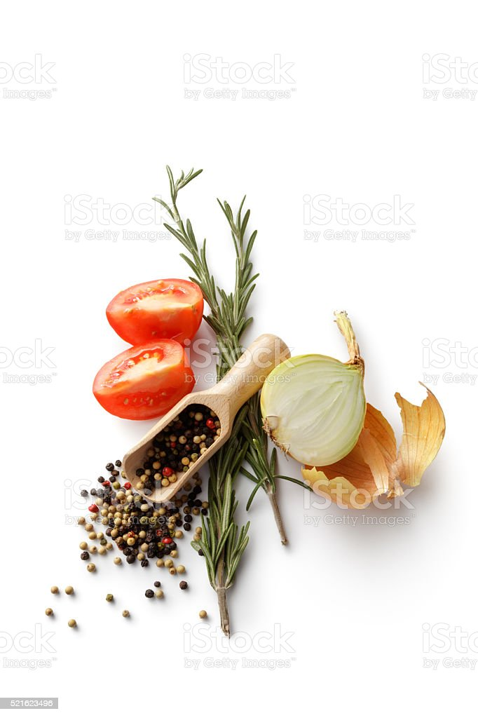 Ingredients: Pepper, Onion, Tomato and Rosemary stock photo