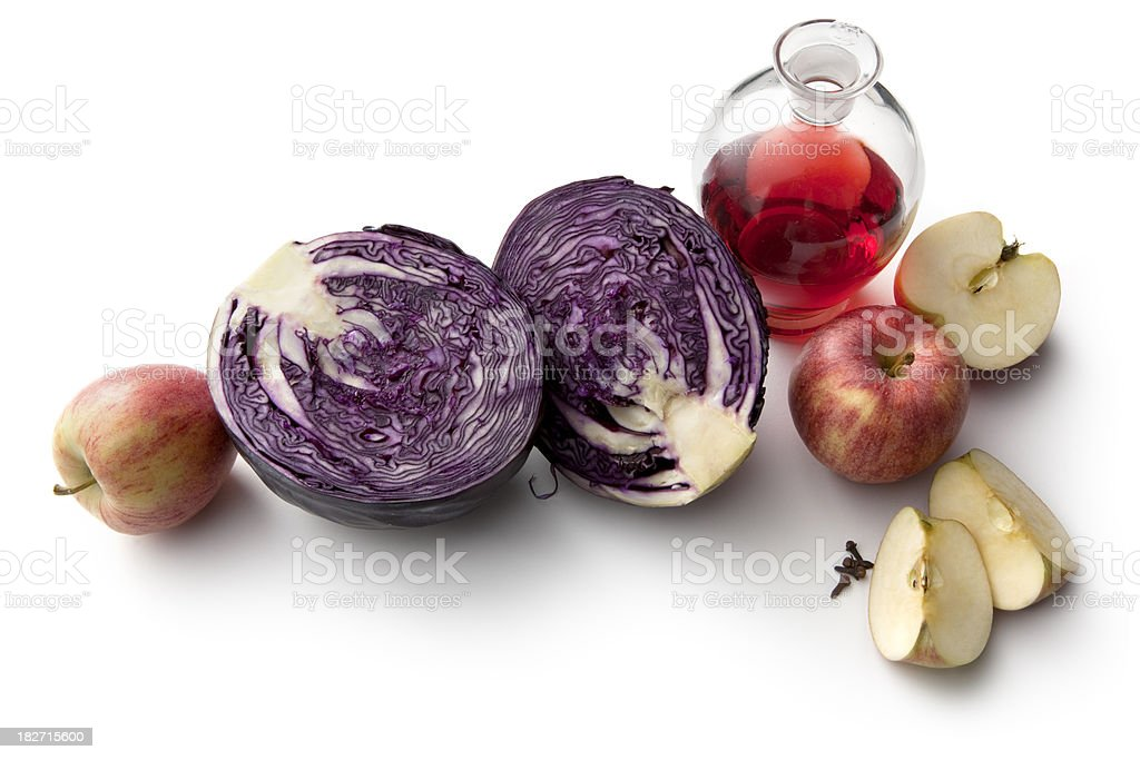 Ingredients: Red Cabbage, Apple and Vinegar royalty-free stock photo