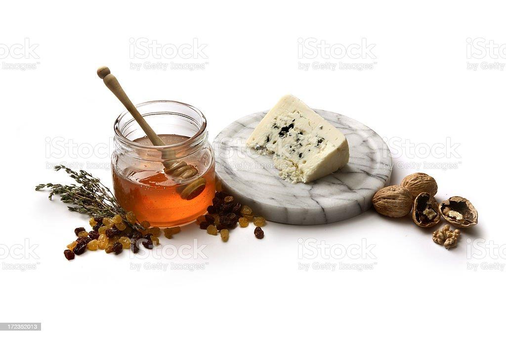 Ingredients: Roquefort, Honey, Raisins, Walnut and Thyme stock photo