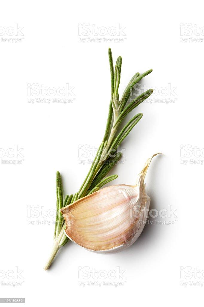 Ingredients: Rosemary and Garlic stock photo