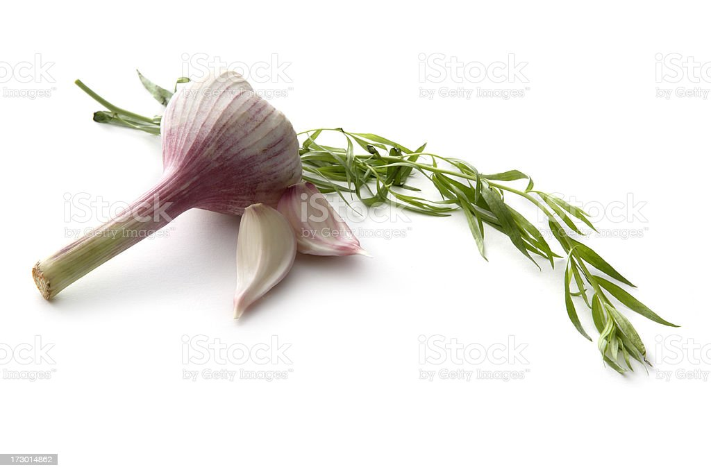 Ingredients: Tarragon and Garlic royalty-free stock photo