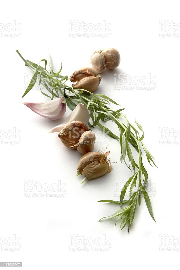 Ingredients: Tarragon, Chalotte and Garlic royalty-free stock photo