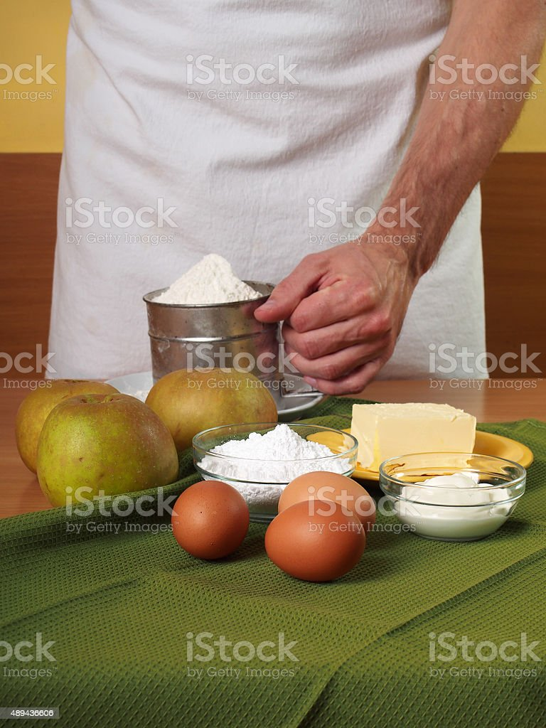 Ingredients to make apple pie. Making Apple Pie Tart Series. stock photo