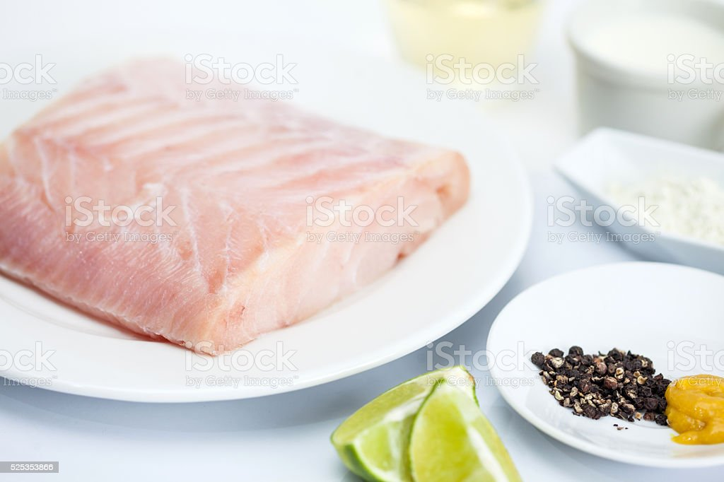 Ingredients to prepare a sea bass fillet stock photo