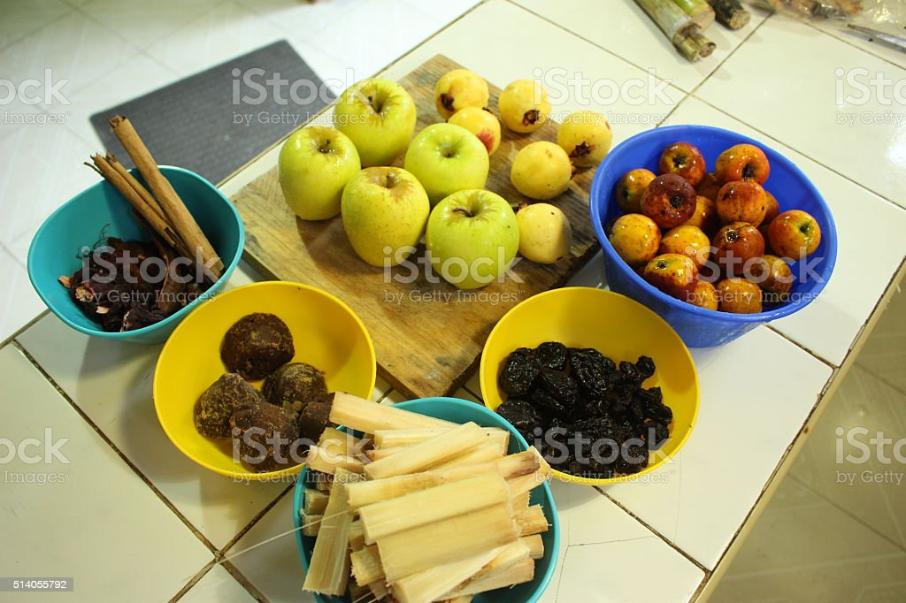 ingredients to prepare the traditional mexican Christmas drink ponche stock photo