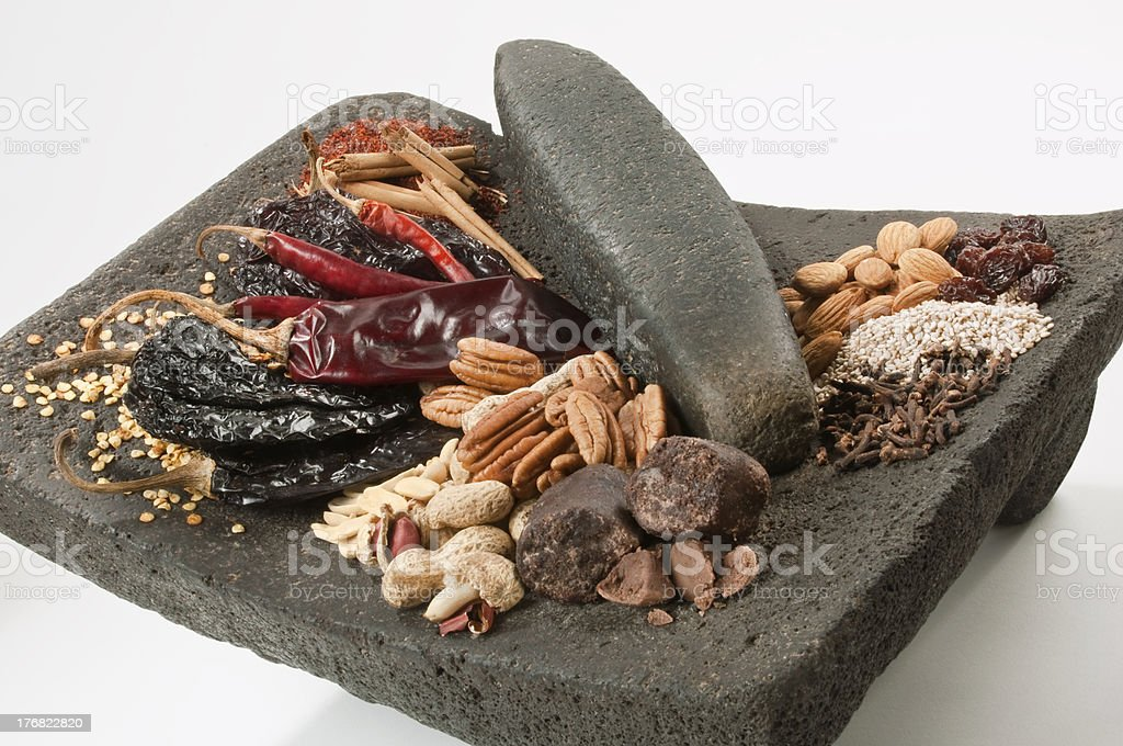 """Ingredients to prepare traditional mexican """"mole"""" – Close Up stock photo"""