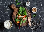 Ingredients to prepare vegetable rolls. Vegetarian snack
