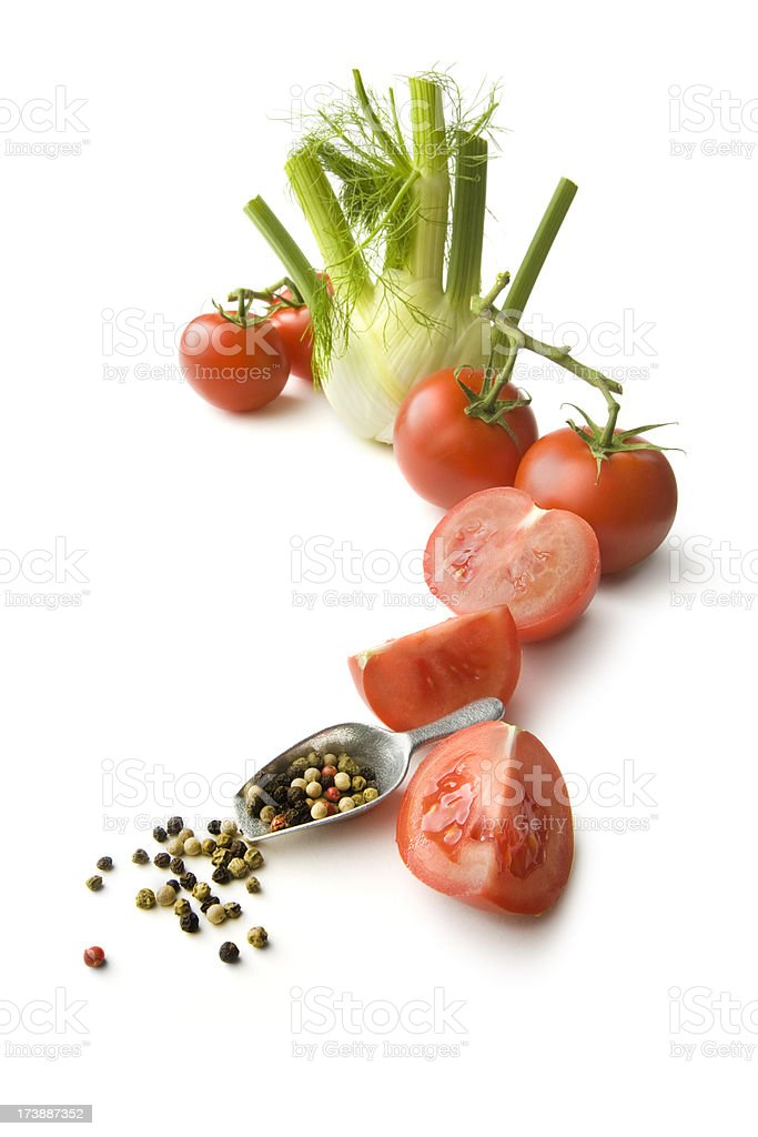 Ingredients: Tomato, Fennel and Pepper royalty-free stock photo