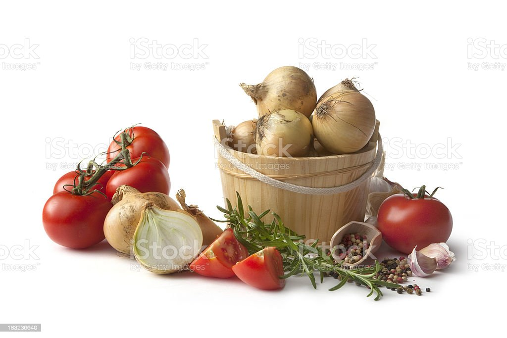 Ingredients: Tomato, Onion, Rosemary, Garlic and Pepper royalty-free stock photo