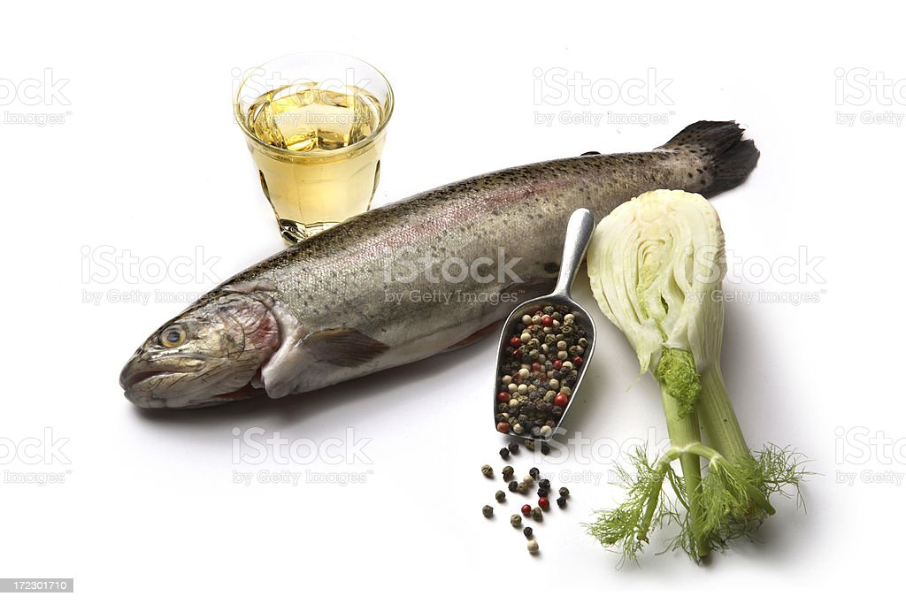 Ingredients: Trout, Fennel, Wine and Pepper royalty-free stock photo