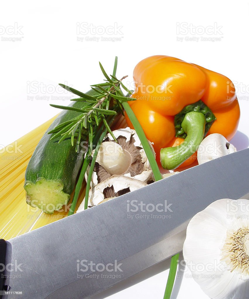 Ingredients with cooking knife royalty-free stock photo