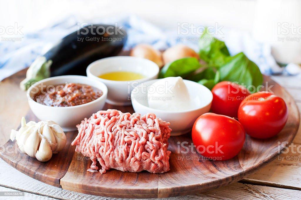 Ingridients for cooking Parmigiana di melanzane stock photo