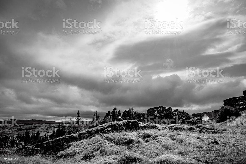 Þingvellir (Thingvellir) national park in Iceland in black and white stock photo