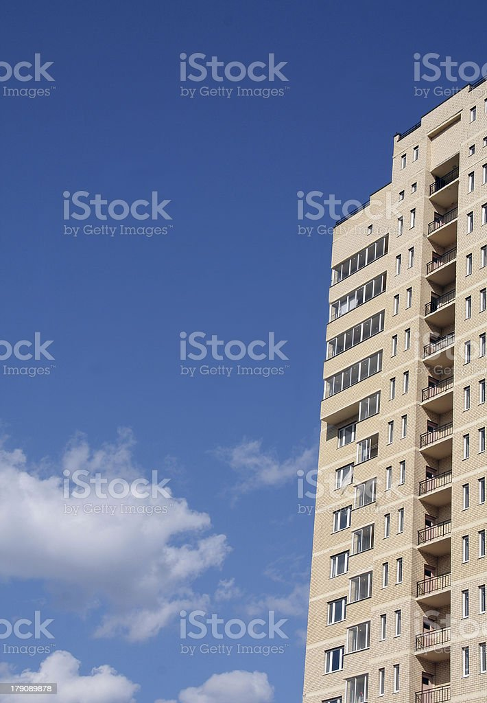 Inhabited building and the sky royalty-free stock photo