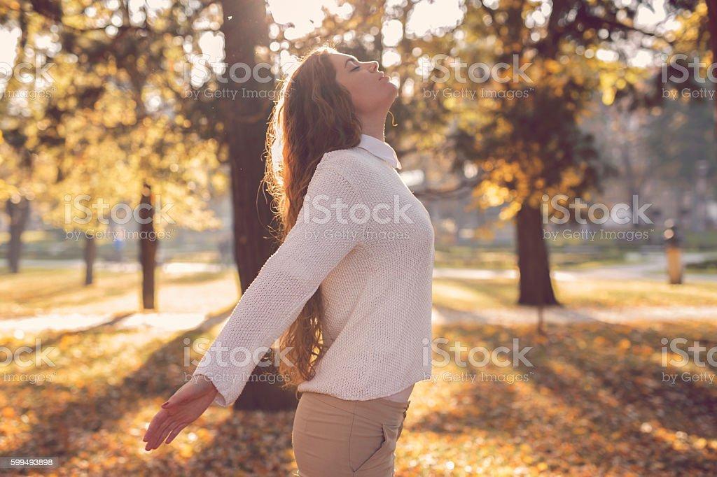 Inhale fresh autumn air stock photo