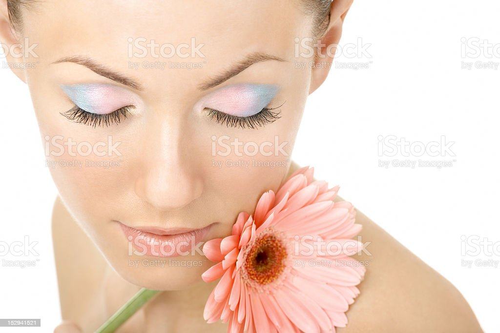 Inhaling flower aroma royalty-free stock photo