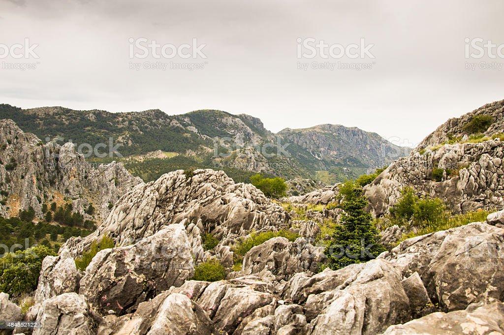 Inhospitable landscape of the Sierra Grazalema Natural Park. stock photo