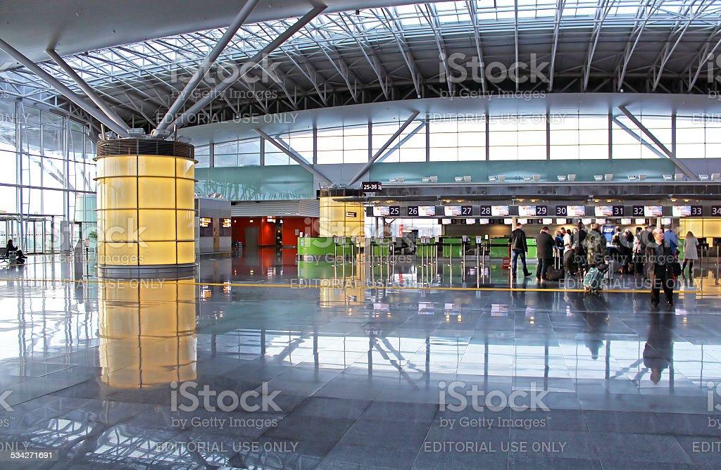Inidentified people at International Airport Boryspil in Kyiv, Ukraine stock photo