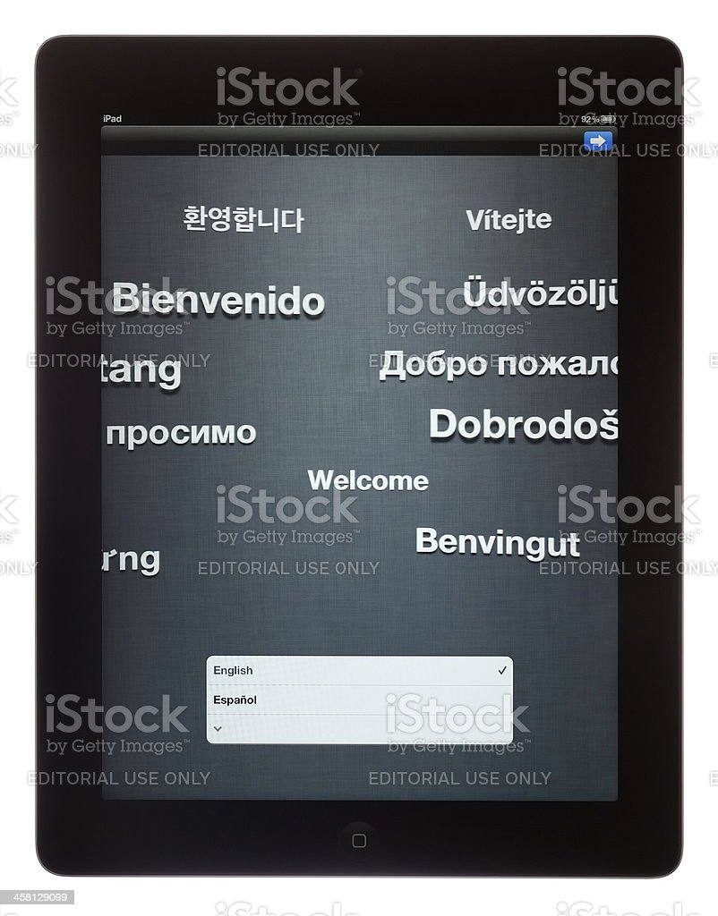 Initial Configuration of New iPad 3, Welcome Message stock photo