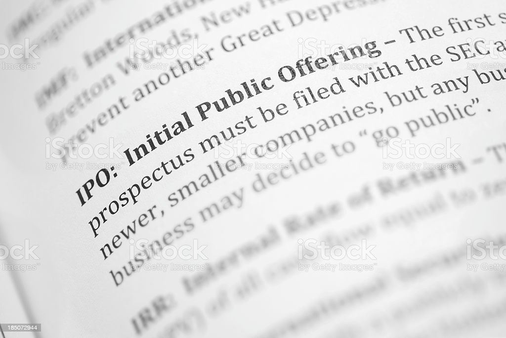IPO, initial public offering, definition stock photo