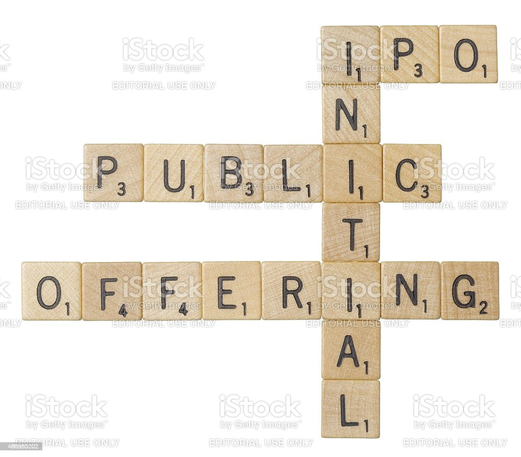 IPO, initial public offering, Scrabble tiles stock photo