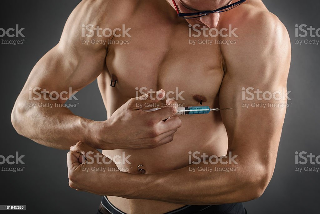 Injecting Steroids stock photo
