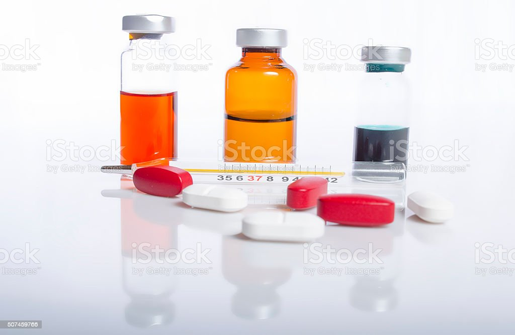 Injection ampule and disposable syringe show medicine concept stock photo
