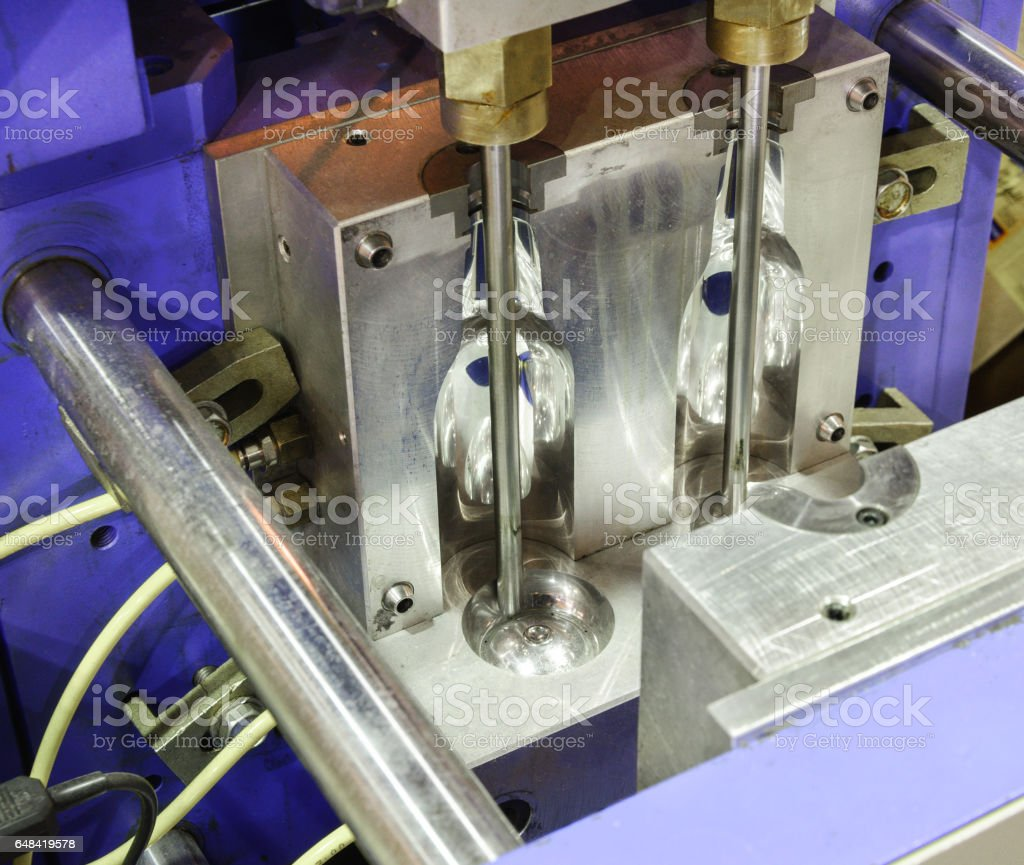 Injection molds for PET bottles stock photo