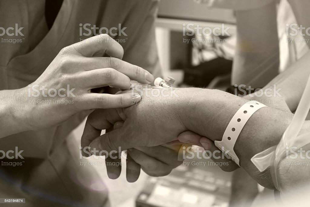 Injection of drug stock photo