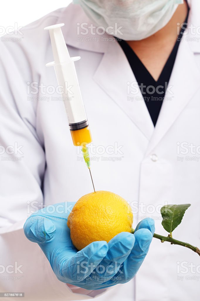 Injection on the Lemon stock photo