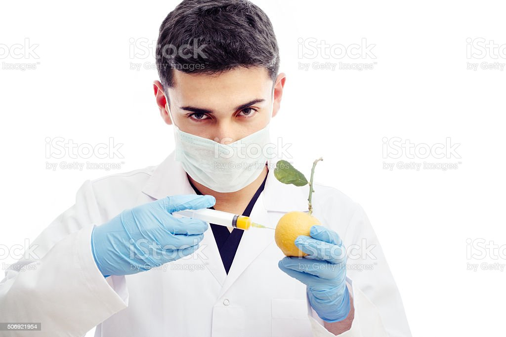 Injection with Lemon stock photo