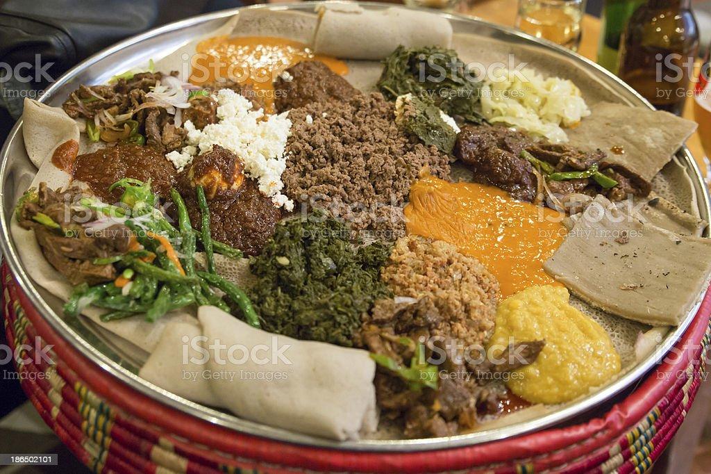Injera be wot, traditional Ethiopian Food royalty-free stock photo