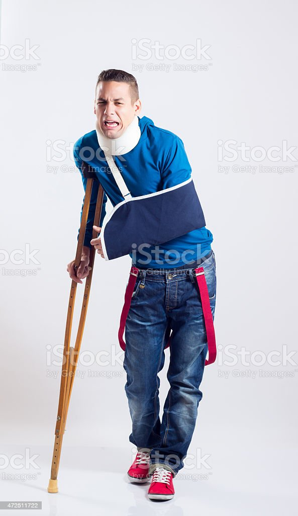 Muchacho accidentado stock photo