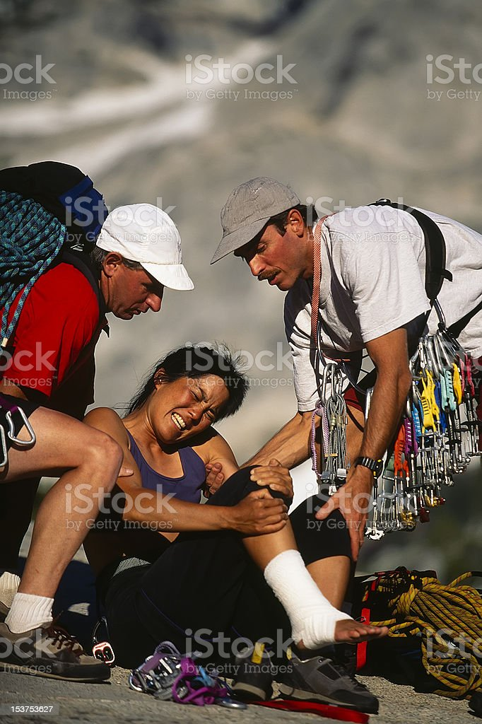 Injured climber being rescued. royalty-free stock photo