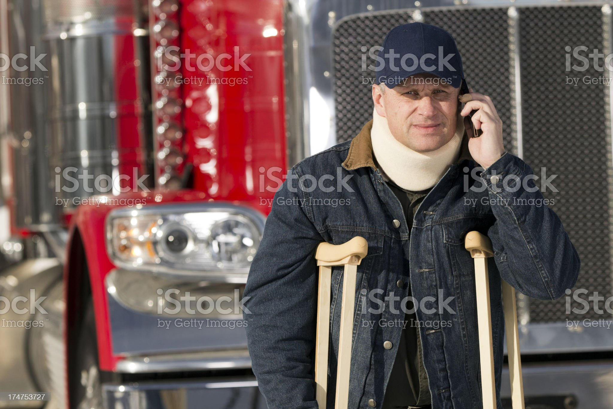 Injured Driver on the Phone royalty-free stock photo