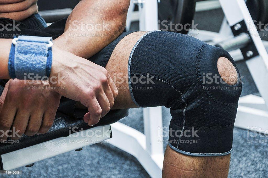 Injured knee stock photo