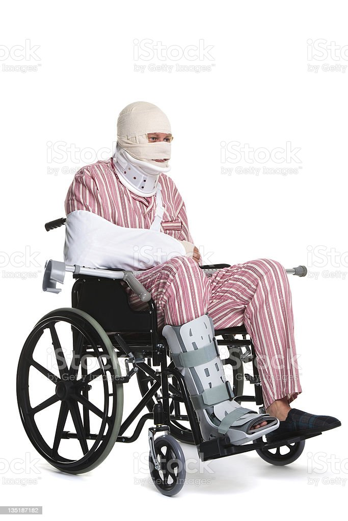 Injured man in a wheelchair stock photo