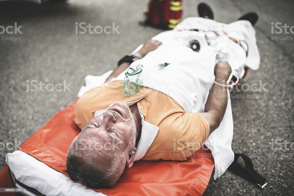 injured man on the stretcher royalty-free stock photo