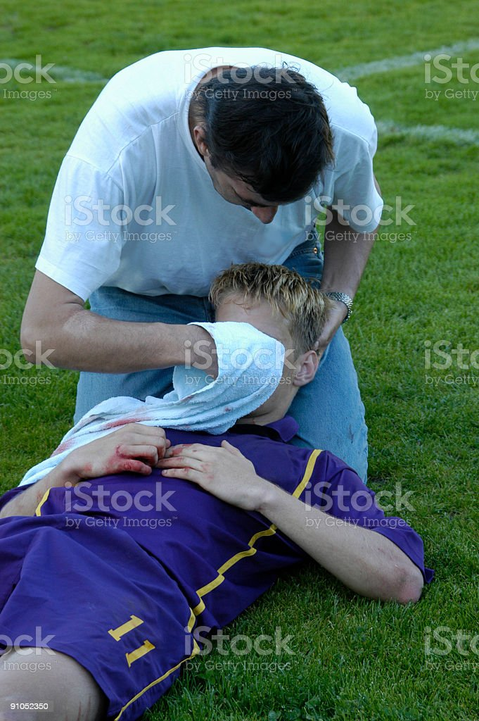 Injured soccer player stock photo