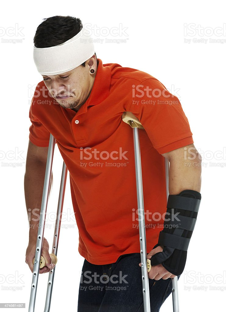 Injured young man standing royalty-free stock photo