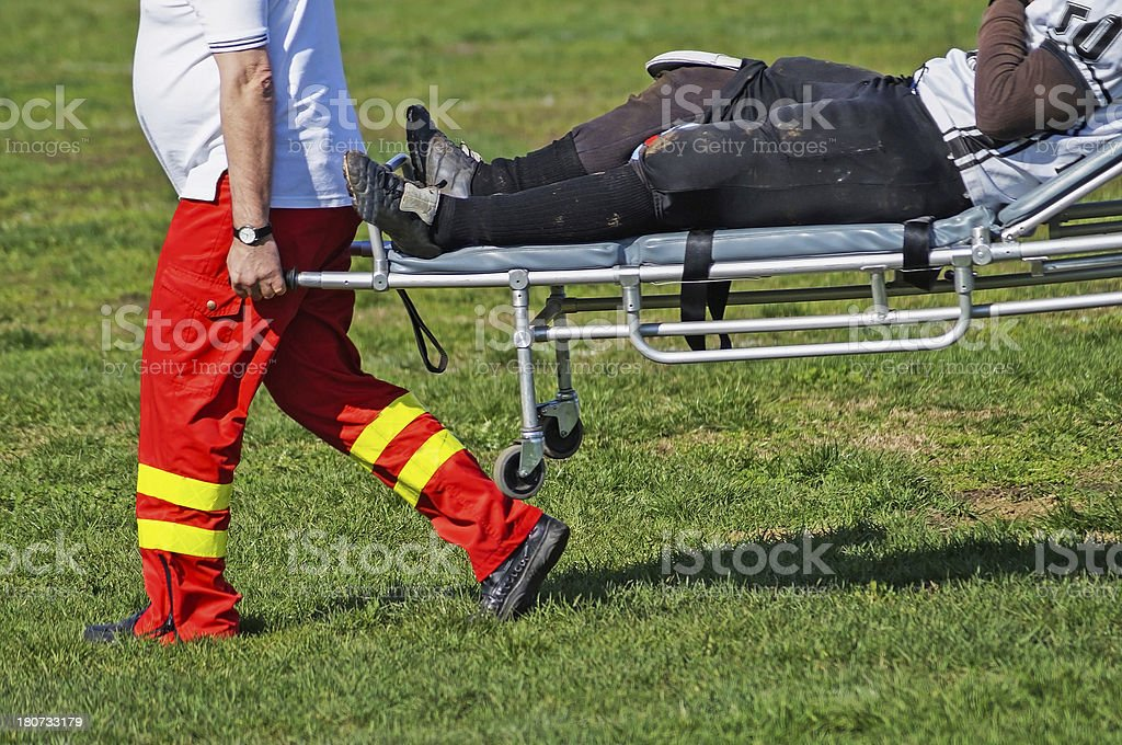 injury on the football field royalty-free stock photo