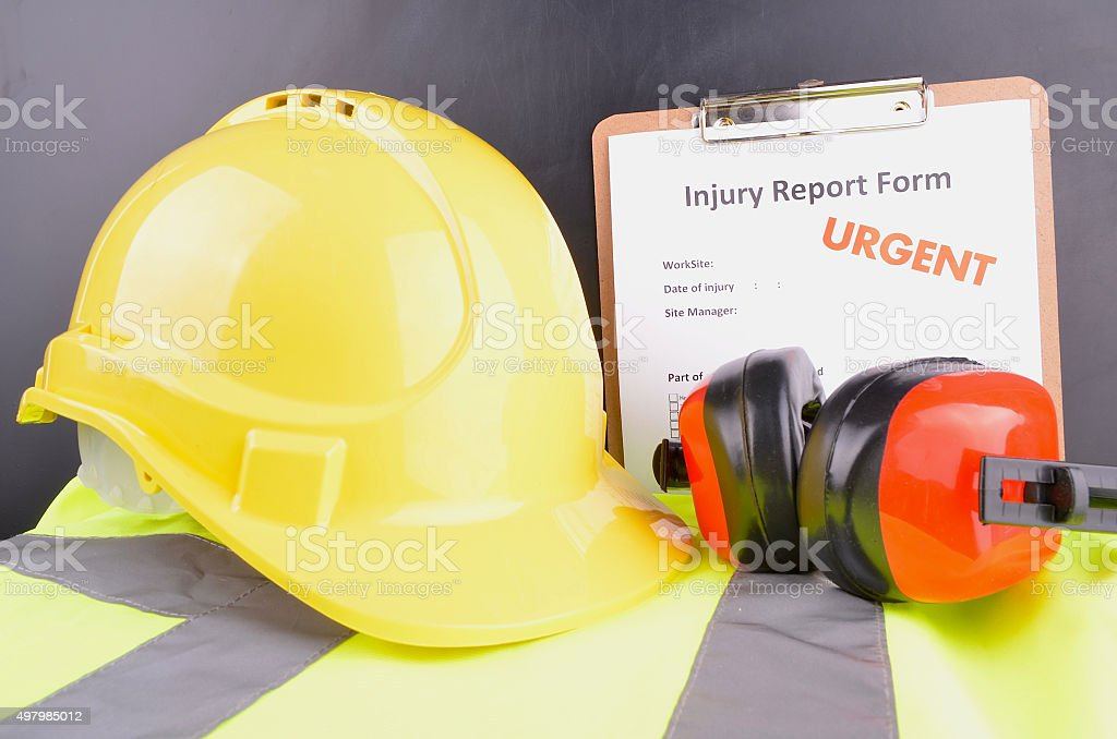 Injury Report Form stock photo