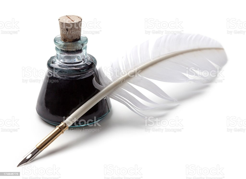 Ink and feather pen stock photo