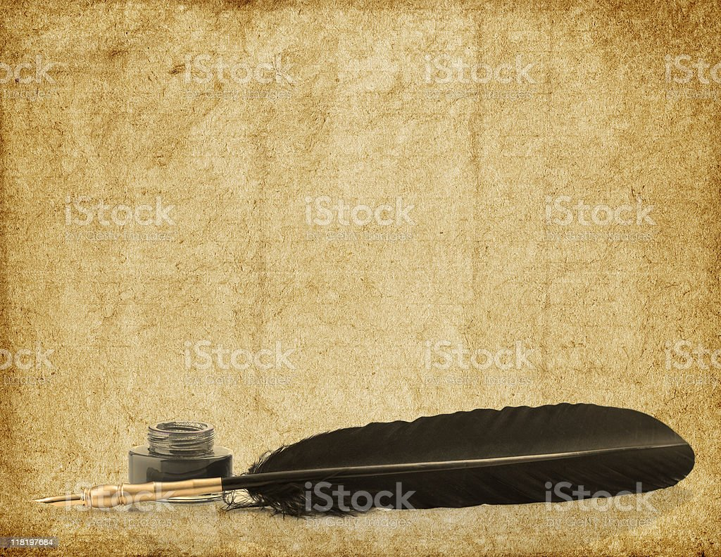 ink and quill on aged background royalty-free stock photo
