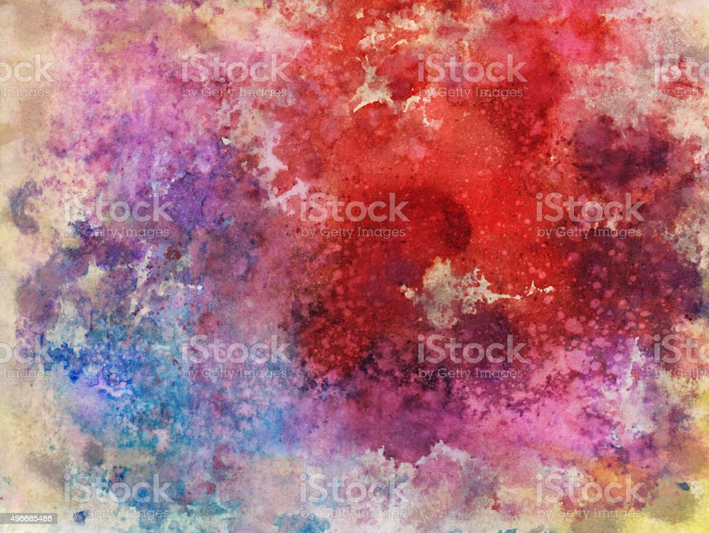 Ink and watercolor splatters with multiple colors stock photo