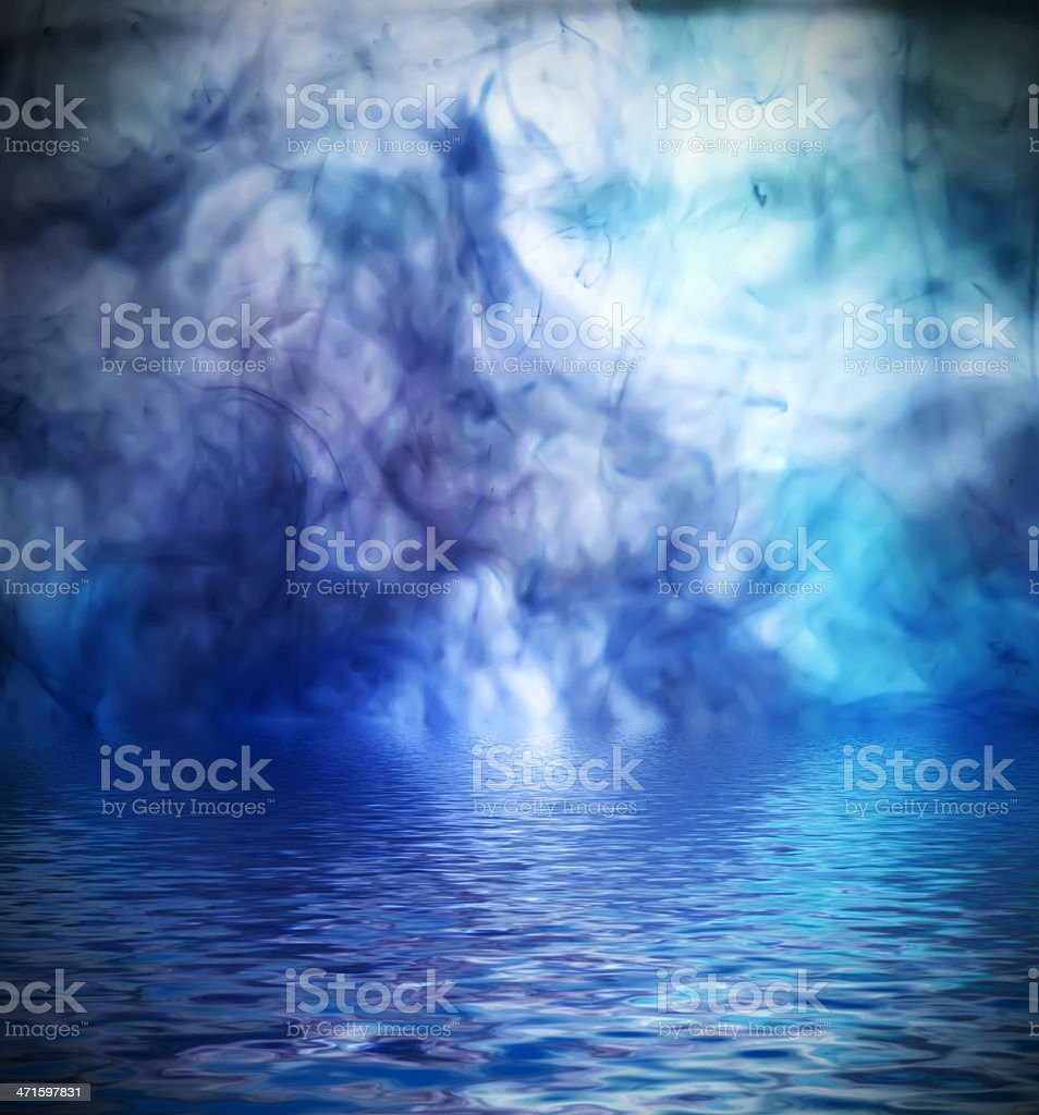 Ink background reflected in water. royalty-free stock photo