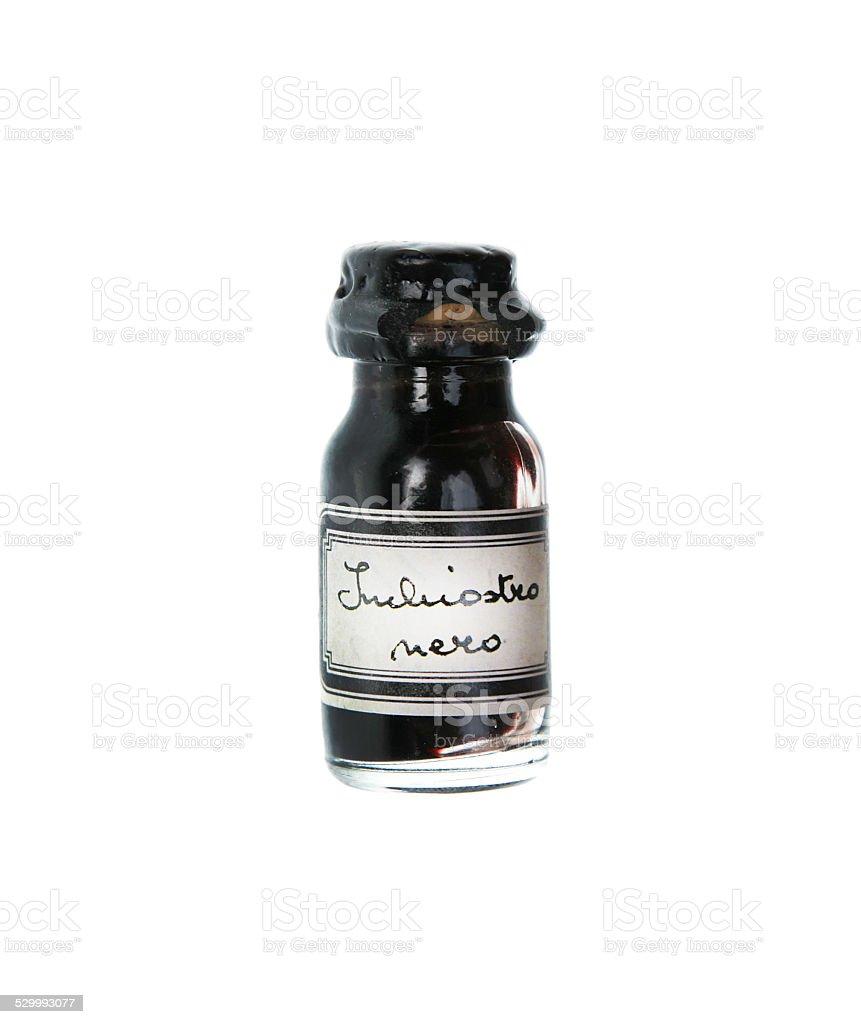 ink bottle vintage black isolated stock photo