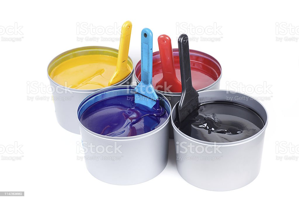 CMYK ink cans... stock photo
