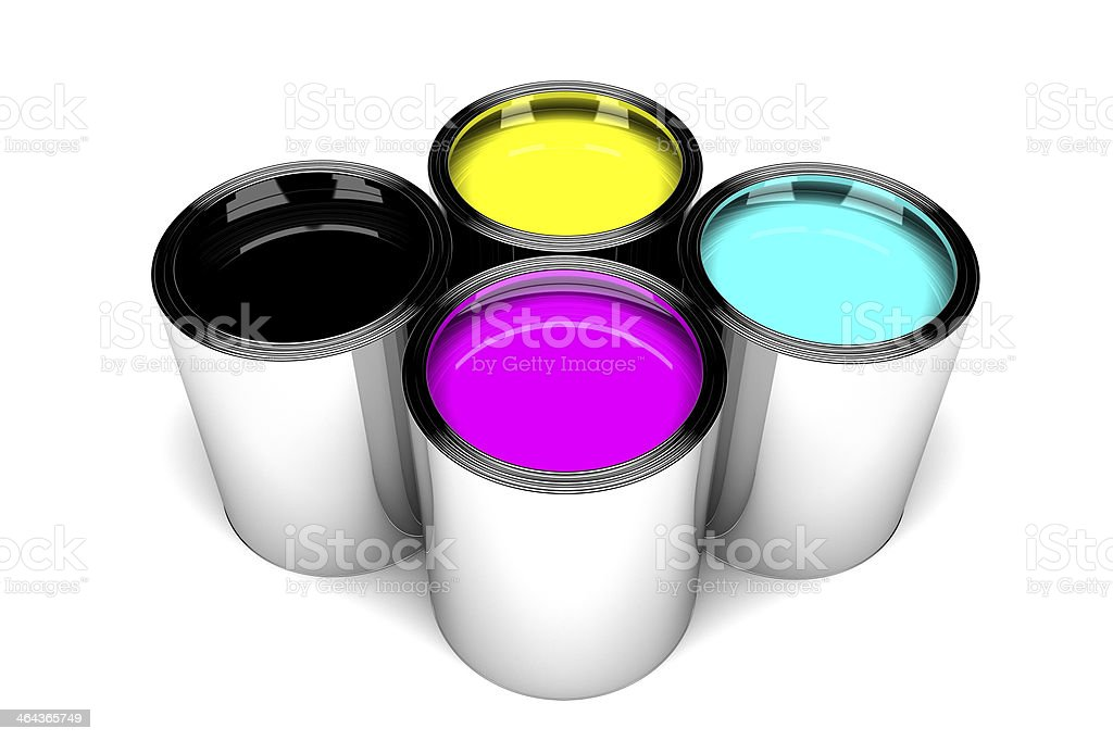 CMYK ink cans (3D) stock photo